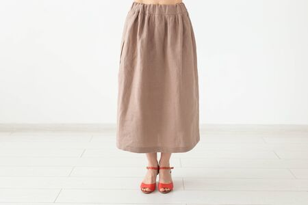 clothing, fashion, business concept - a home-made skirt, designer cloth.