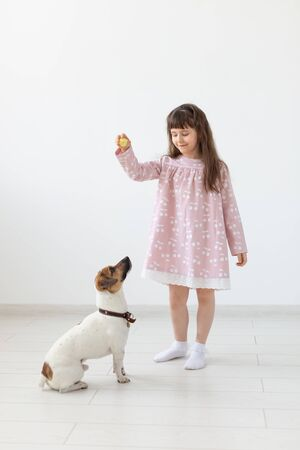 Cheerful little girl in a blue dress playing with her beloved dog Jack Russell Terrier. Friendship concept of children and dogs. Advertising space