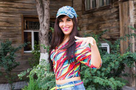 Street dance, freestyle and jazz funk concept - Beautiful girl hip-hop dancer outdoor Stock Photo