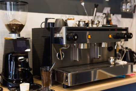 Coffee machine in coffee shop. Drinks and coffee house concept