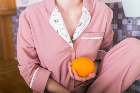 Warm kit homewear. Soft cotton shirt. Comfortable clothes for healthy sleep. Pajamas concept. Close-up Imagens