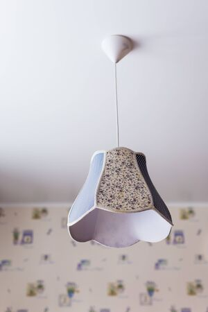 Pendant light with lamp shade, rustic style. Country style and provence.