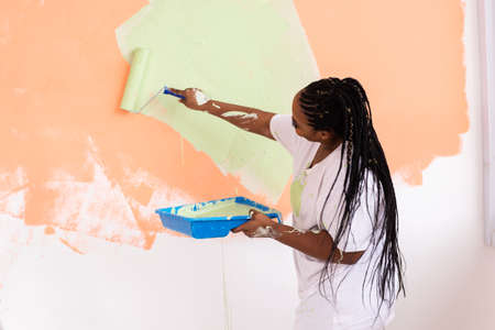 Repair in the apartment. Happy young woman paints the wall with paint.