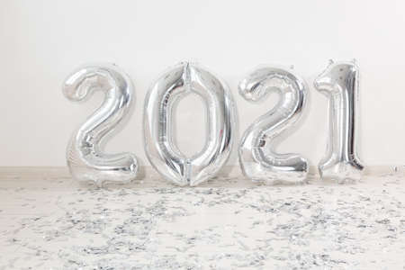 Balloons in the form of numbers 2021. New year celebration. Silver Air Balloons. Holiday party decoration.