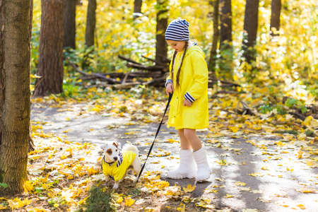 Child girl with dog outdoors. Kid with pet at autumn. Jack russell terrier puppy. 版權商用圖片