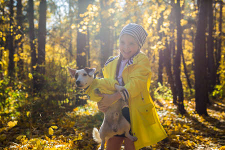 Little girl playing with her dog in autumn forest. Child and jack russell terrier dog. 版權商用圖片