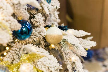 Close up of Christmas tree decoration. Holidays concept.