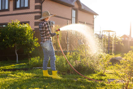 Caucasian woman gardener in work clothes watering the beds in her vegetable garden on sunny warm summer day. Concept of working in the garden and your farm