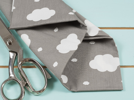 Colorful cotton fabric, meter and scissor Stock Photo - 107484106