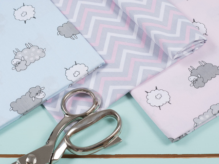 Colorful cotton fabric, meter and scissor