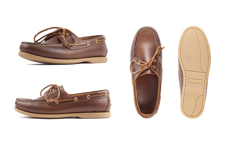 Men's brown moccasins, loafers isolated white background. Side view, top view and sole Imagens