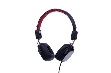 Black headphones isolated on white background. Stock Photo