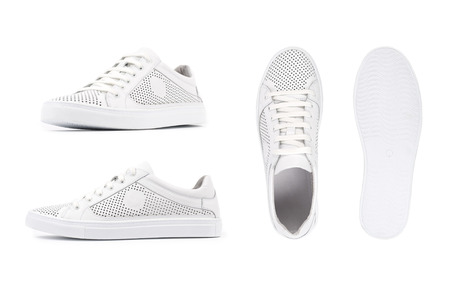 Men's white sneakers, shoe isolated white background. Side view, top view and sole