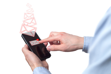 Businessman hand holding smart phone with icon mobile phone, mail, telephone and address. Man's Hand holding a smartphone. A new message received on mobile phone