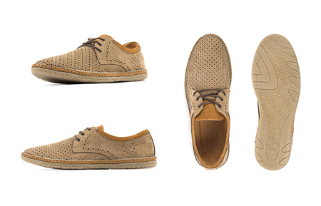 Men's brown moccasins, loafers isolated white background. Side view, top view and sole 스톡 콘텐츠