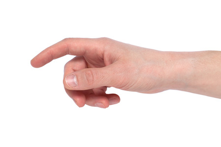 image of a man's finger pointing or touching isolated on a white background Archivio Fotografico