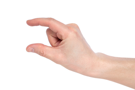 Male caucasian hand gesturing a small amount, or smal size, isolated on white background. Banco de Imagens