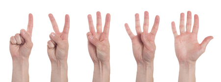 Male hands counting from one to five isolated on white background. Set of multiple images. Collage