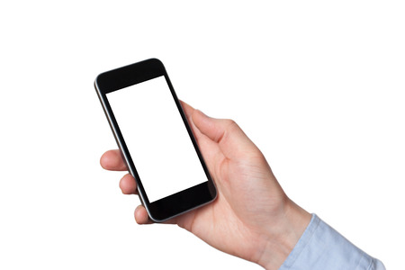 Close up man hands using smart phone battery low charged battery screen. White background