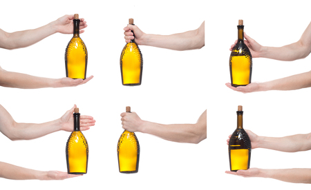 Man holding bottle with delicious wine on white background. Multiple images. Collage