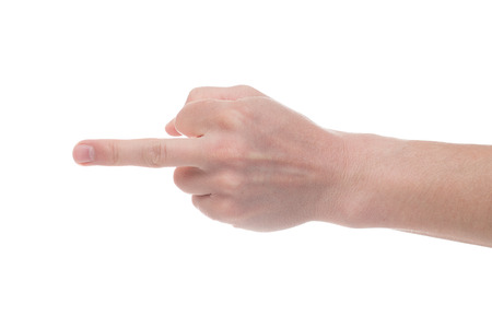 Male Right hand showing rough gesture Fuck you or Fuck off on White background.