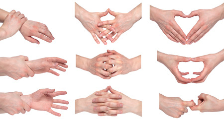 Two human join hands together isolated on white background, collaboration of business concept, teamwork concept, union concept, solidarity concept. Set of multiple images 写真素材
