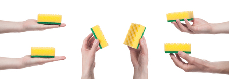 Male hand holding a yellow cleaning sponge isolated on a white background. Multiple images. Collage 写真素材