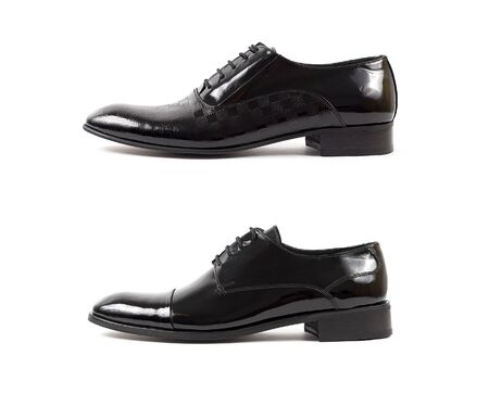 Classic male black leather shoe isolated on a white background