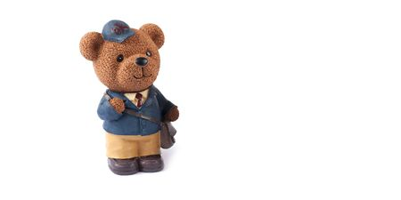 Plastic toy animal bear isolated on white background Фото со стока