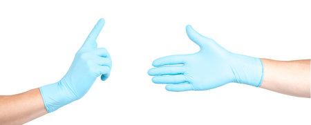 Blue medical gloves textured