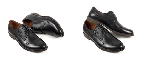 Classic black leather mens shoes with laces isolated on white background top view Stok Fotoğraf