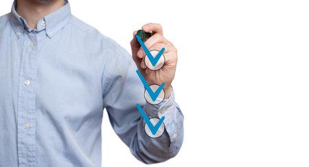 businessman checking mark checklist marker Isolated on white background Stok Fotoğraf