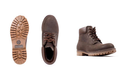 Brown man's shoes isolated on white background. Brown man's boots