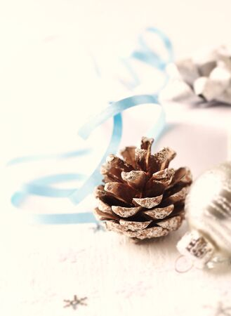 Christmas decoration. Christmas time. White wooden background. Copy space.