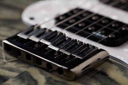 Close up of Electric Guitar Bridge Imagens - 132064950