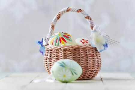 Basket of Colorful Eggs for Easter