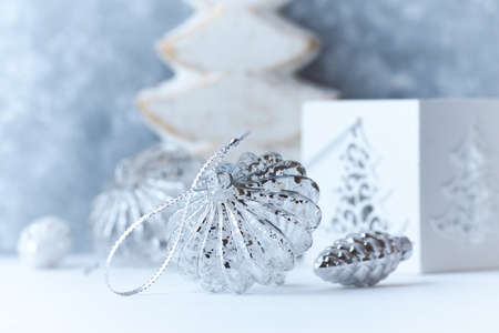 Christmas decoration. Bright wooden background. Selective focus. Close up.