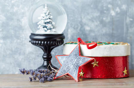 Christmas star on wooden background. Close up.