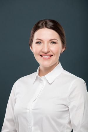 white blouse: Business woman portrait , white blouse Stock Photo