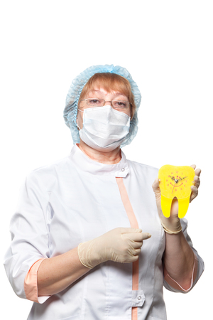 dentist mask: dentist woman with a mask,clock