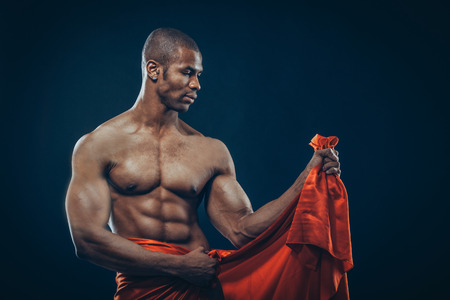 nude abs: Portrait of an athletic African American man topless Stock Photo