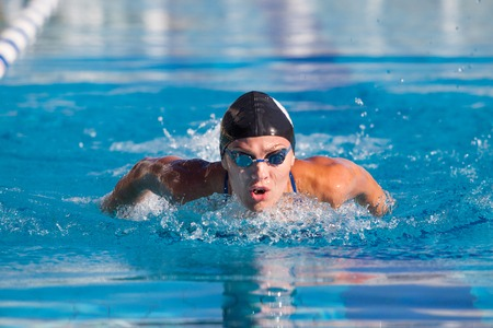 swimmer: Butterfly swimmer in cap and glasses in the pool