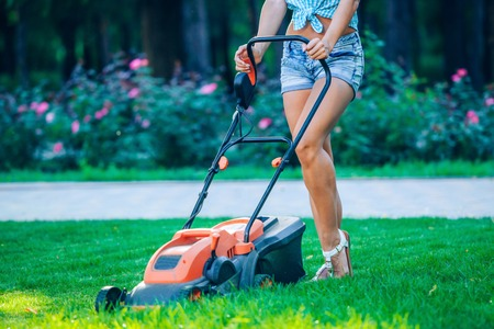 Woman mowing lawn in residential back garden on sunny day.