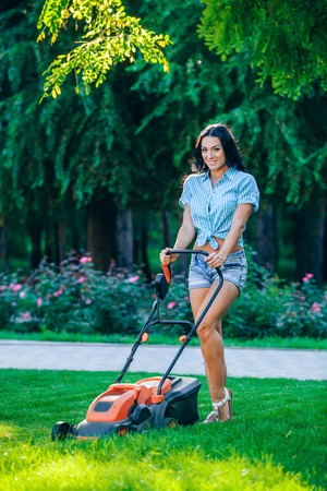 garden lawn: Woman mowing lawn in residential back garden on sunny day.