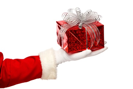present presentation: Santa claus giving christmas present box on a white background
