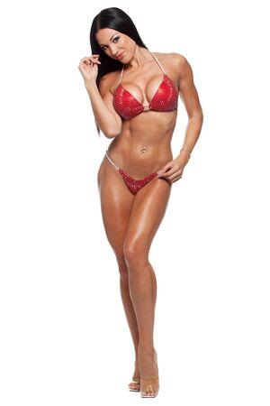 junge nackte m�dchen: In voller L�nge Foto von sportlich Frau im Bikini gegen wei�en Hintergrund isoliert.