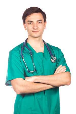 healthcare, profession, people and medicine concept - smiling male doctor in white coat. Фото со стока