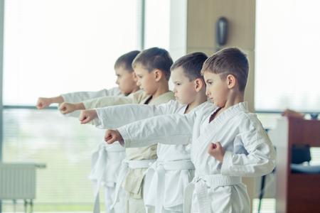 artes marciales: jóvenes, bellas y exitosas de varios niños de karate éticos en la posición de karate Foto de archivo