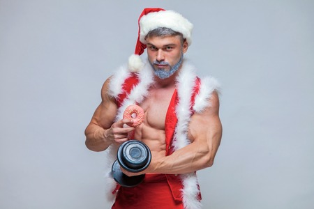 Holidays and celebrations, New year, Christmas, sports, bodybuil Stock Photo
