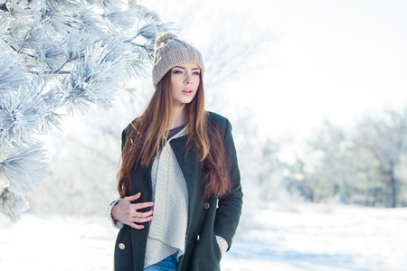 Beautiful winter portrait of young woman in the snowy scenery Stock Photo